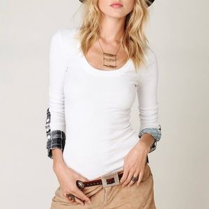Free People Plaid Henley